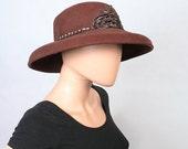 Vintage Mr. John Hat / Brown Wool Felt Hat / Sequin Applique Glam Hat / 1980s Hat / 80s Wide Brimmed Hat