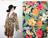 Vintage Victoria's Secret Silk Robe / Tropical Floral Print / Kimono Bed Jacket Lingerie / Boudoir Lounge Wear / Sleepwear Dressing Gown