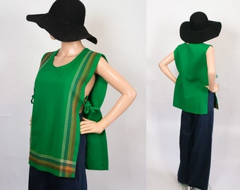 Vintage 70s Pinafore Tunic Top / 1970s Artist Smock / 60s Mod Shirt / 1960s Tent Blouse / Beach Cover Up / Green  + Rainbow Stripes / Open