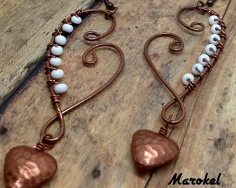 Hammered Copper Heart Earrings Dangle Wire Wrapped Textured Copper White beads