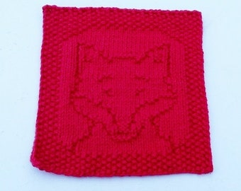 Fox Red Colored, Handknit Dishcloth or Washcloth
