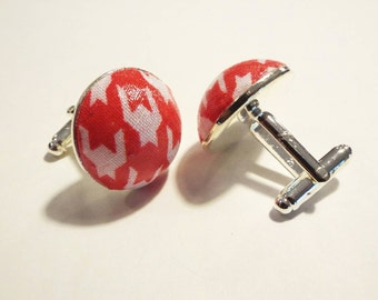 Handmade 20mm Red & White Houndstooth Fabric Cufflinks
