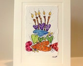 Play Hearts Birthday Cake  Panel Card Watercolor Original betrueoriginals
