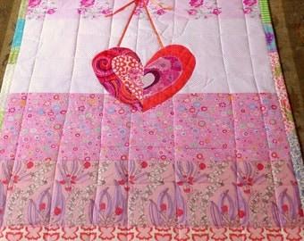 "Baby Art Quilt Butterfly Morning  Wall Hanging Hand Quilted Big Heart 42"" x 43"" Art Patchwork Quilt Designer Cottons betrueoriginals"