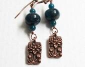 Blue and Copper Earrings, Copper & Apatite Earrings