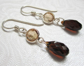 Brown Earrings, Chocolate Brown Dangle Earrings, Swarovski Crystal Earrings