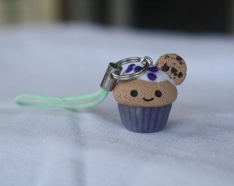 Polymer clay cupcake charm wth sprinkles and a chocolate chip cookie