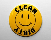 Clean Dirty Dishwasher Magnet - Happy Smiley Face Yellow - 3 inch