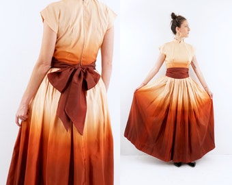 STUNNING vintage 40s OMBRE taffeta GOWN dress S-M