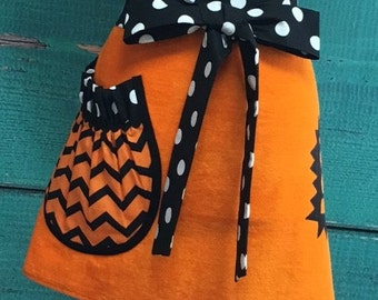 Towel Apron - Hostess Apron - Halloween - Boo - Orange & Black