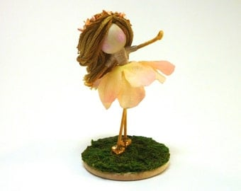 Peach Fairy Child, Mini Waldorf Doll, Flower Pixie Collectable