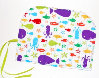 Crochet Hook Organizer  DPN Storage Case Under the Sea gift for knitter hooker octopus submarine whale Quiltsy Handmade