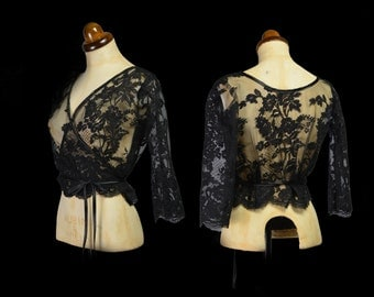 Black Lace Ballet Wrap Top - Size S / M - FREE SHIPPING WORLDWIDE