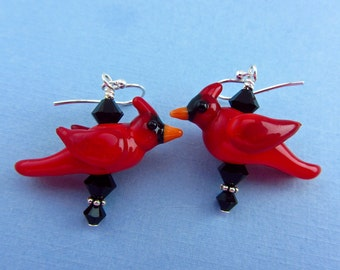 Cardinal Earrings #3 - Lampwork Glass Beads- SRA