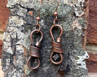 Antiqued Copper Twist Earrings