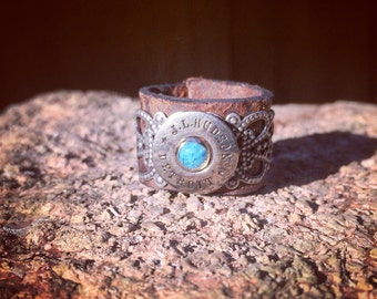 Vintage Early 1900's Advertising Button & Leather Ring