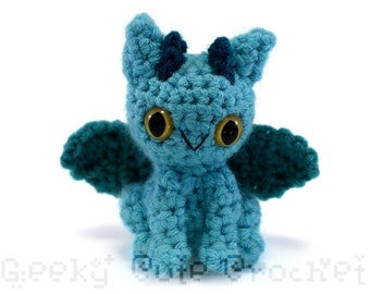 Dragon Amigurumi Crocheted Toy Plush Blue Turquoise