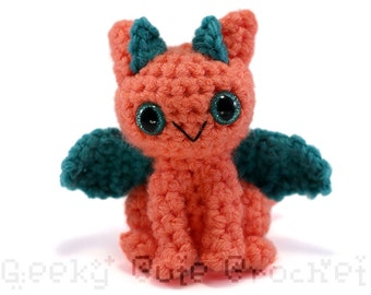 Dragon Amigurumi Crocheted Toy Tropical Peach Jade