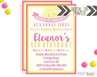 Girl Sunshine Birthday Invitation | Digital or Printed |  Breakfast Party | Brunch Birthday Invite |  Sunshine Invite | Pink Yellow Sunshine