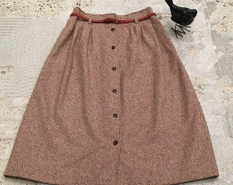 1970s Vintage Tweed Skirt - Rusty Brown - A Line Gathered Waist Button Front Skirt - Fall - Back to School - Retro Hipster - 27 28 Waist
