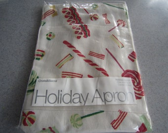 Crate & Barrel Holiday Candy Apron NOS