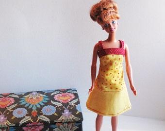 Barbie Clothes - Handmade Yellow and Red Polka Dot Barbie Dress - OOAK  sale
