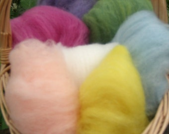 Rainbow Fairy Wool--Pastel Bright Mix--Wet Felting/Needle Felting--2 Ounces--Seven Colors--Plant Dyed