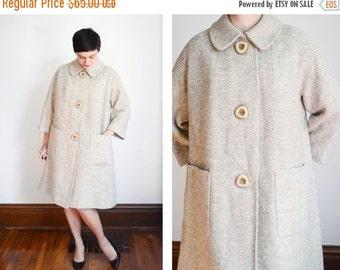 SUMMER SALE 1960s Light Beige Tweed Swing Coat - M