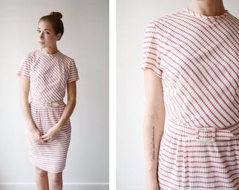 1960s/1950s Red and White Nylon Striped Dress - XS