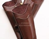 Warm Rusty Brown Steampunk Parasol Holster with Fan Pocket
