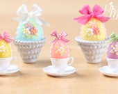 Candy Easter Egg Decorated with Blossoms in Egg Cup - Pink Egg - Miniature Food in 12th Scale