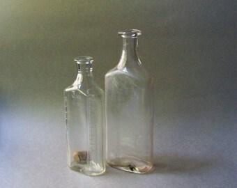 Vintage Clear Glass Bottles ~ Single Flower Vases ~ Two Bottles