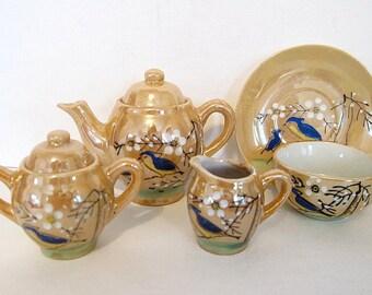 Vintage Child's Bluebird Tea Set, Gold Porcelain Lusterware, 17 piece Complete Japan