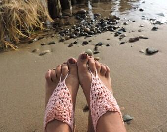 Salmon pink crochet barefoot sandals