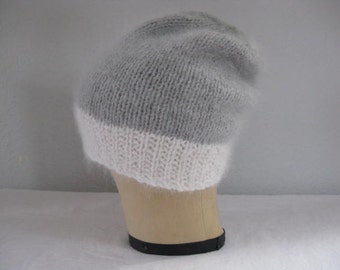 Angora and Extra Fine Merino Wool Hat for Women. Gray and White Slouchy Beanie. Hand Knit. Winter Accessories.