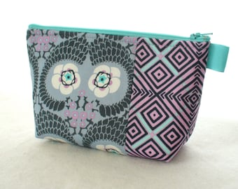Amy Butler Fabric Large Cosmetic Bag Zipper Pouch Padded Makeup Bag Cotton Zip Pouch Violette French Twist Floral Lavender Gray Turquoise