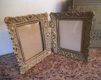 "Vintage Brass Double Picture Frame ~ Ornate Heart detailing ~ Fits 3"" by 4"" ~ Wedding"