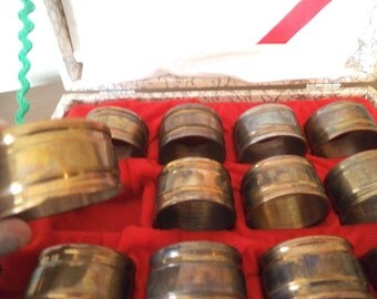 12 Vintage Brass Napkin Rings in original Box ~ Holiday Christmas Table