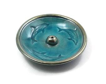 INCENSE BURNER  Dolphin Aqua Raku  Handmade Pottery