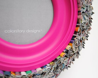 colorful ROUND pink picture frame - made from recycled magazines, blue, green, red, purple, pink, yellow, orange, frame, unique, girls room