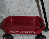 "Miniature Doll Size Toy 6"" Red Radio Flyer Wagon Christmas Decor Dolls Teddy Bear Staging"