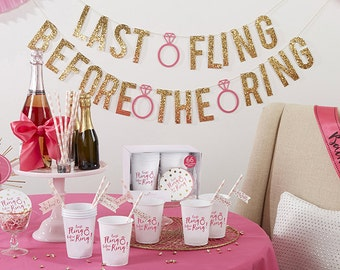 Last Fling Before the Ring 66 Piece Bacheloratte Party Kit, Bridal shower, decor