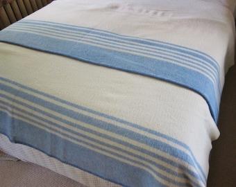 Vintage wool blanket, blue striped blanket, Canadian blanket, Ottawa Valley bedcover, camp blanket, farmhouse decor,rustic bedroom