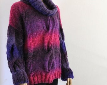 Plus Size Sweater, Chunky Sweater, Hand Knitted, Cable Knit Sweater, Purple Pink