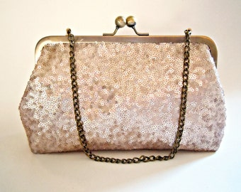 Sequin Clutch, Wedding Clutch, Bridal Bag, Pink Champagne, Evening Bag, Bridesmaid Gift, Wristlet