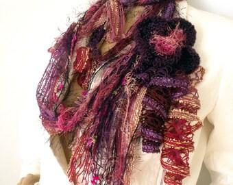 Gypsy hippie scarf, Infinity scarf, Fiber art scarf, Boho scarf, Fiber lariat necklace, Fringe tassel scarf, Fall trend scarf, Wearable art