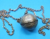 UNIQUE one-of-a-kind vintage 1950s Swedish HANDCRAFTED signed E.D. pewter tin ball pendant necklace with Lapland motives and metal chain