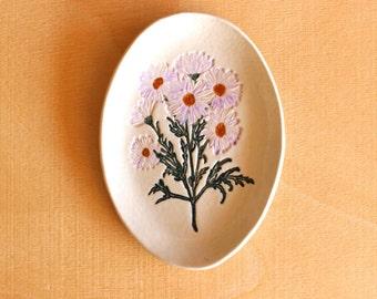 Ceramic DAISY Flower Dish - Handmade Oval Porcelain Pink Daisy Soap Dish / Jewelry Dish - Ready To Ship