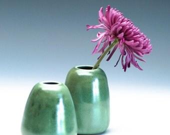 Golden Green Small Vase / Ceramic Vessel