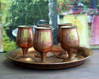 Beautiful Vintage Copper Bar Shot Cups and Serving Tray